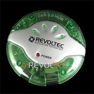 Концентратор  REVOLTEC UFO USB 2 0 HUB на 4 USB порта  зелен   круглый  внеш пит