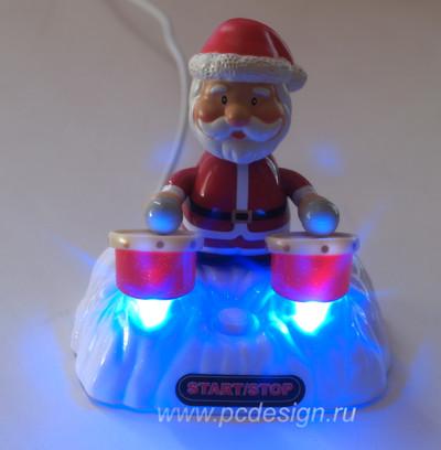 USB Дед Мороз играет на барабанах с музыкой и подсветкой PUG1004