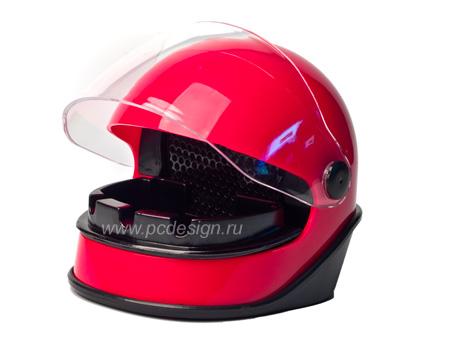 USB Пепельница шлем с вытяжкой и угольным  карбоновым  фильтром красная