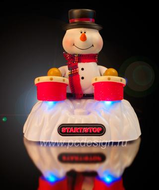 USB Снеговик играет на барабанах  с музыкой и подсветкой PUG 1005