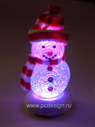 USB Снеговик в красной шапке с музыкой и переливающейся подсветкой 319B
