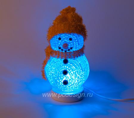 USB Снеговик с подсветкой из 7 цветов в оранжевой шапке 317D