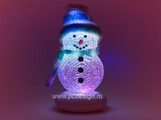 USB Снеговик c синим шарфом с музыкой и переливающейся подсветкой 319B