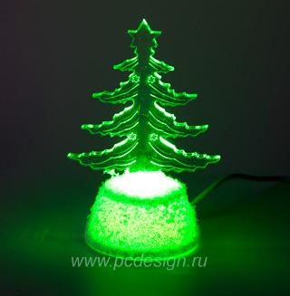 USB Прозрачная Плоская Новогодняя Елочка NY 5061 с зеленой подсветкой