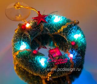 USB Новогодний венок ORIENT 312 с 7цв подсветкой