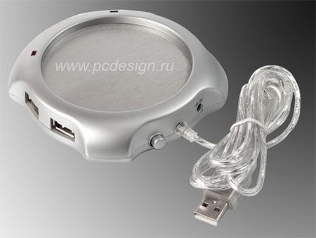 USB Нагреватель кофе с металлической кружкой и USB 2 0 HUB на 4 порта W1002D