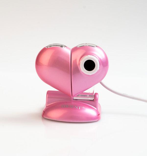 Веб камера сердце розовое с подсветкой ORIENT QF-820  USB 2.0