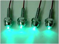 Винтики с зелеными светодиодами для украшения вентиляторов и блоухолов  4 шт